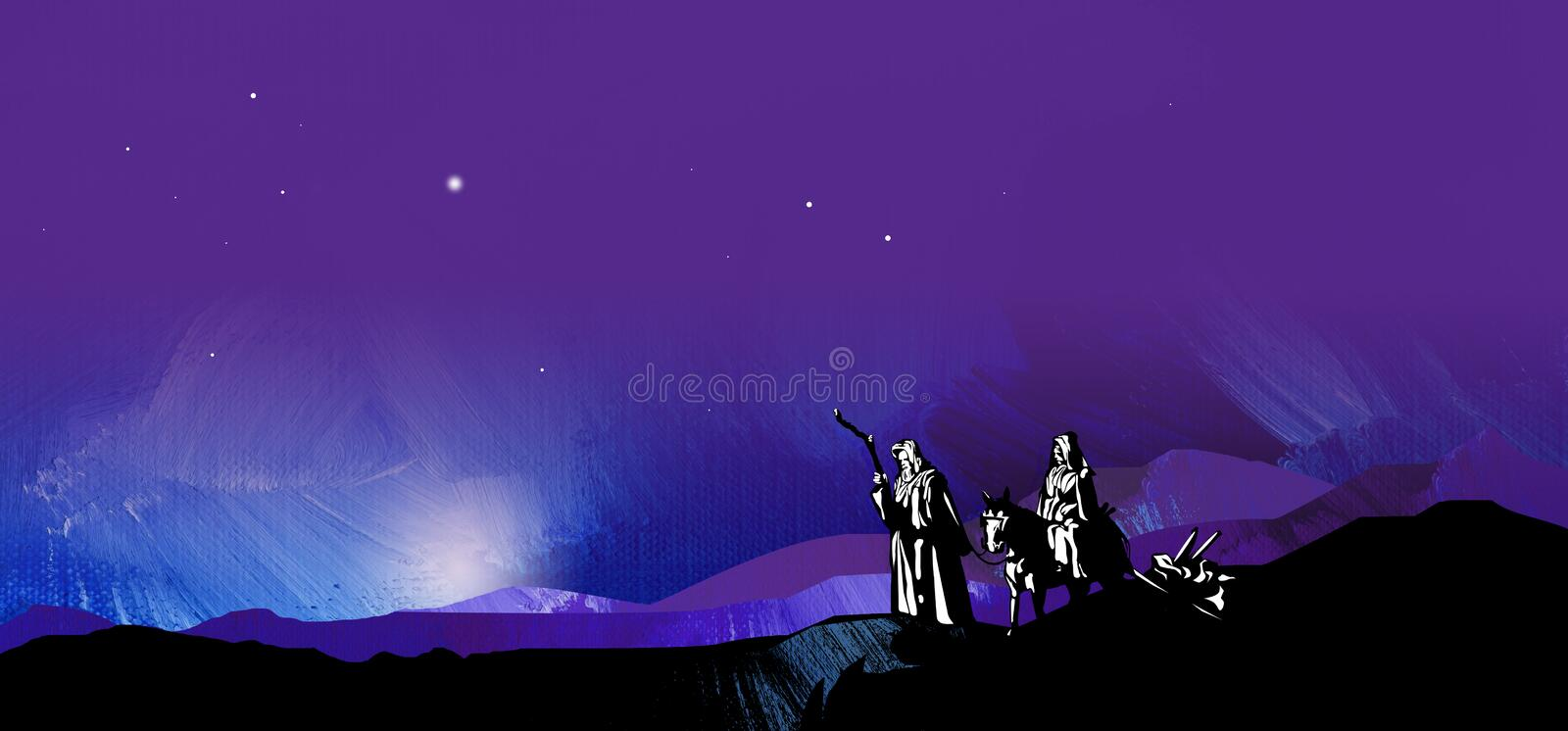 Graphic starry night journey to Bethlehem. Graphic illustration of dark starry night composed of textured oil paint background with glowing stars and hand drawn vector illustration