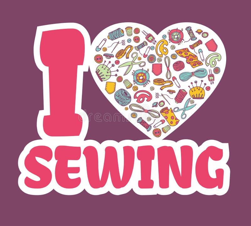 Graphic sticker I love SEWING. stock illustration