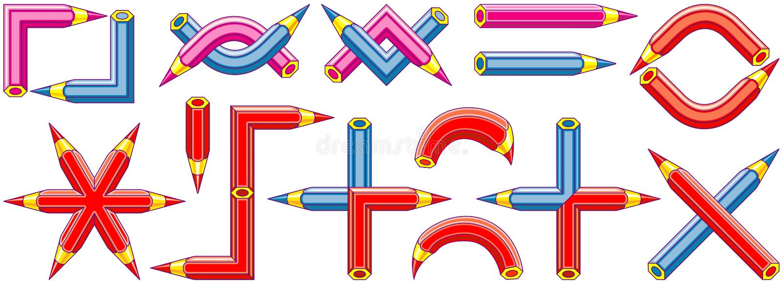 Graphic symbols created from pencils - 2 vector illustration