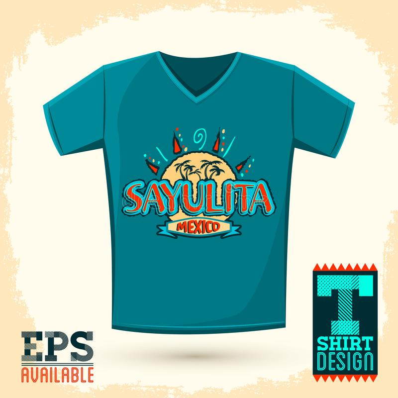 Graphic T-shirt design, Sayulita Mexico Vector illustration, shirt print. stock illustration