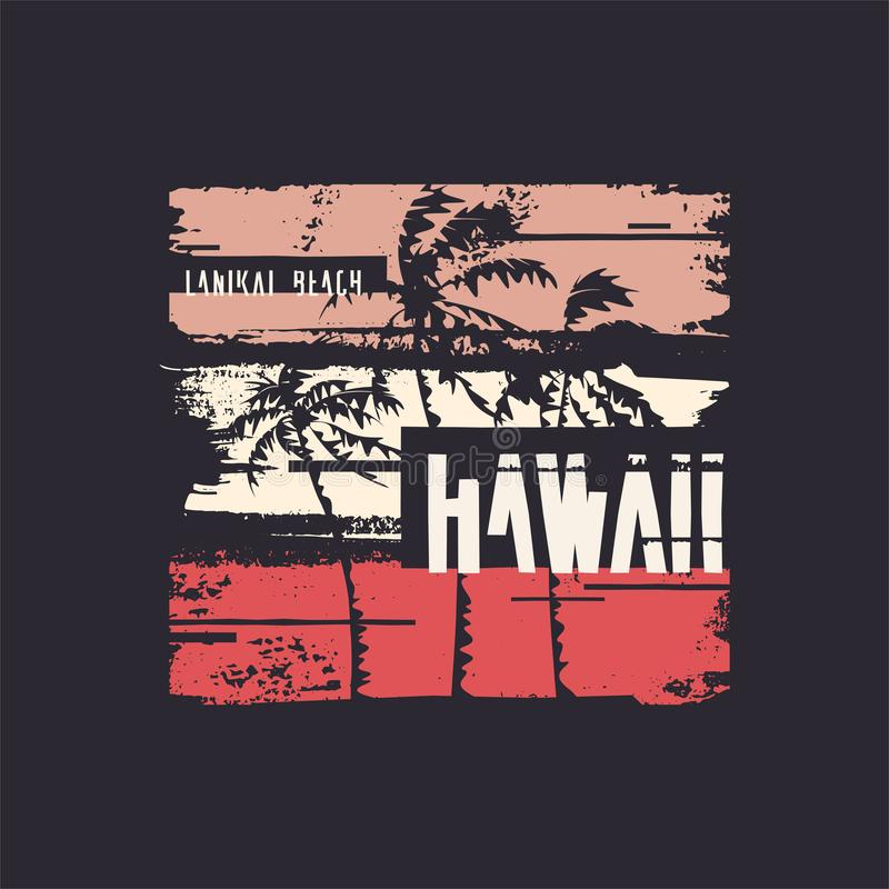 Graphic t-shirt design on the topic of Hawaii. Vector illustration.  royalty free illustration