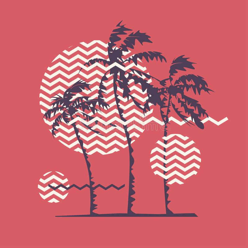 Graphic t-shirt geometric design with stylized palm trees on the topic of summer, holidays, beach, seacoast, tropics. vector illustration