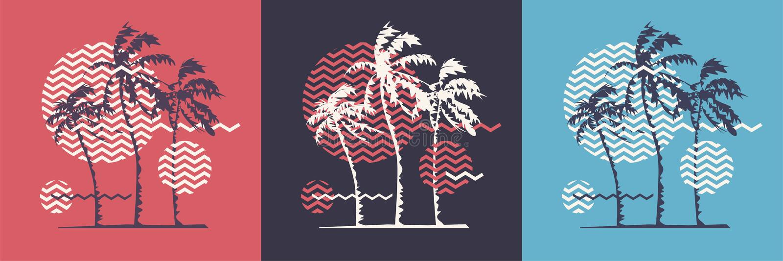 Graphic t-shirt geometric design with stylized palm trees on the topic of summer, holidays, beach, seacoast, tropics. Vector illustration vector illustration
