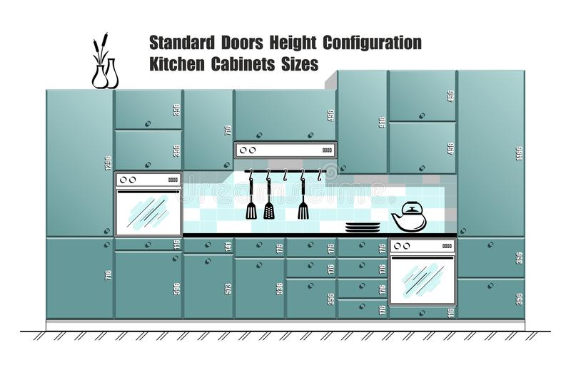 Download Graphic Table With Standard Door Sizes, Kitchen Cabinets Planner  Stock Vector   Image:
