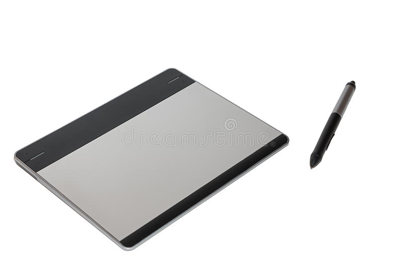 Graphic tablet with a feather royalty free stock image