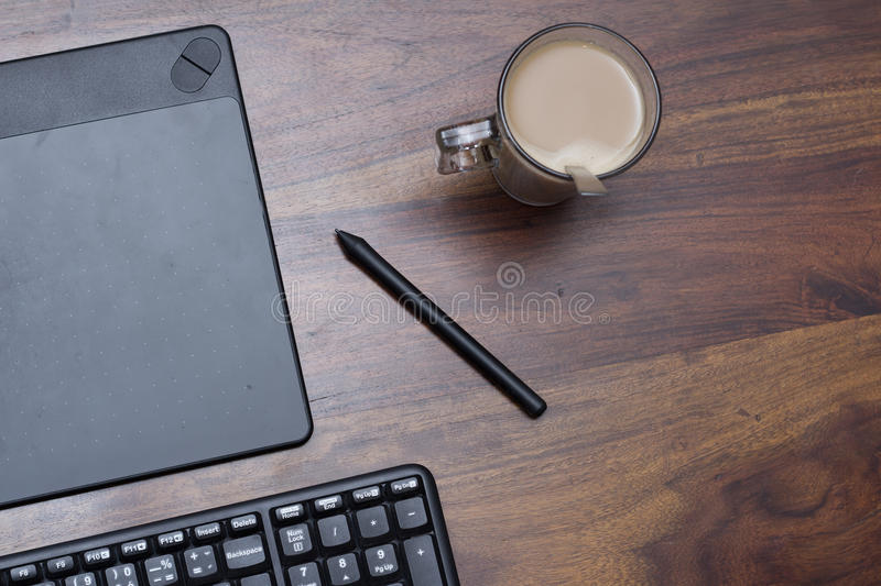 Graphic tablet with stylus pen royalty free stock images