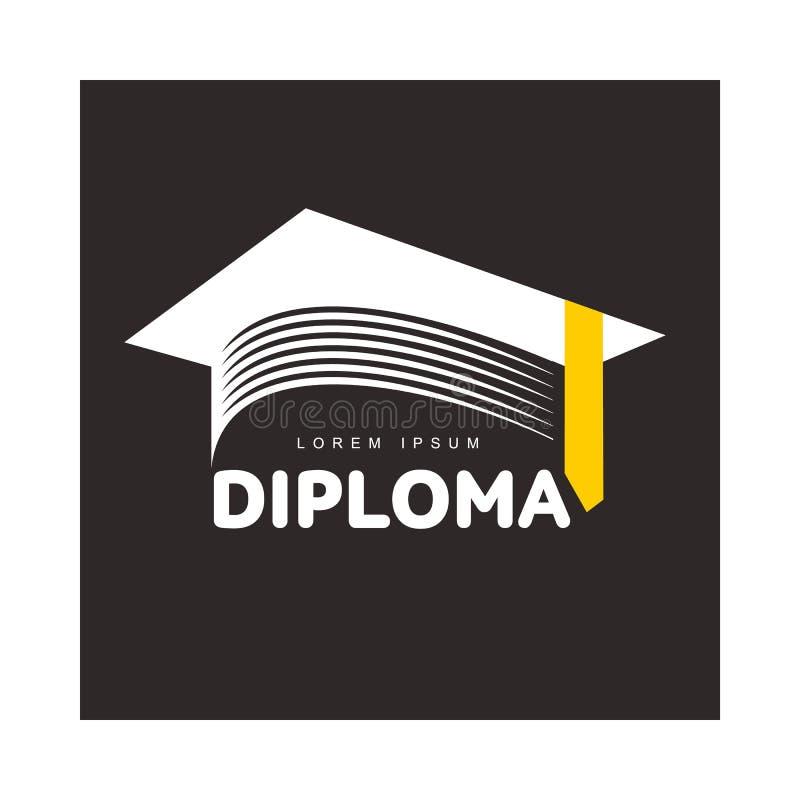 Graphic three colored square academic, graduation cap logo template. Vector illustration on black background. Stylized square graphic graduation cap logotype vector illustration