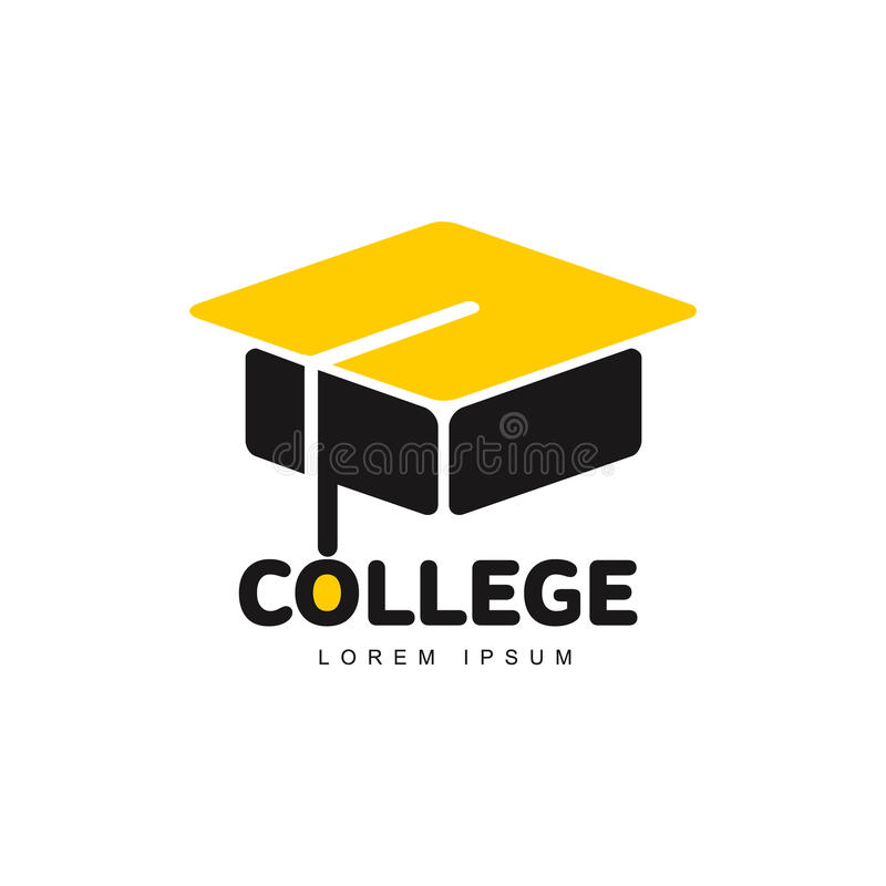 Graphic three colored square academic, graduation cap logo template royalty free illustration