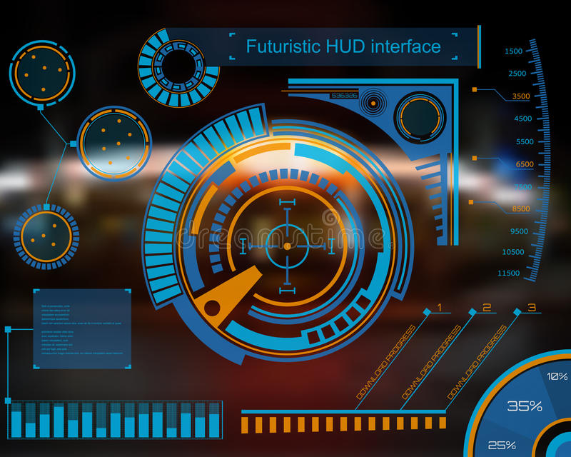 Graphic touch user interface HUD. Abstract future, concept vector futuristic blue virtual graphic touch user interface HUD. For web, site, mobile applications royalty free illustration