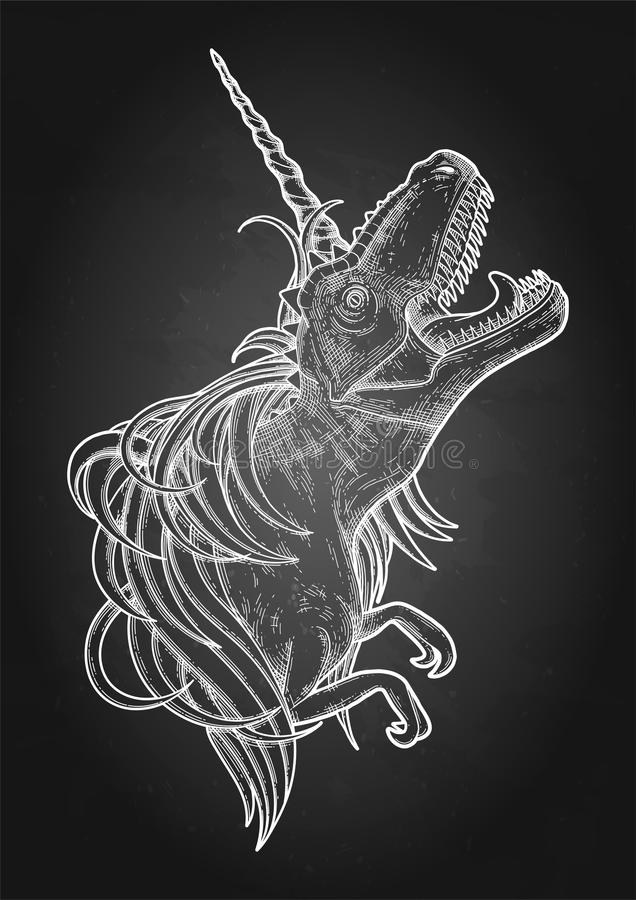 Graphic tyrannosaurus with unicorn horn and mane. stock illustration