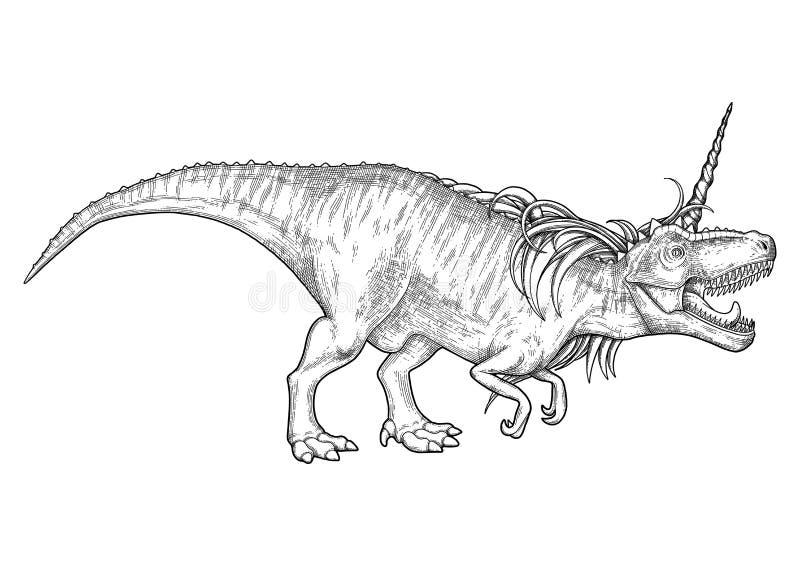 Graphic tyrannosaurus with unicorn horn and mane. vector illustration