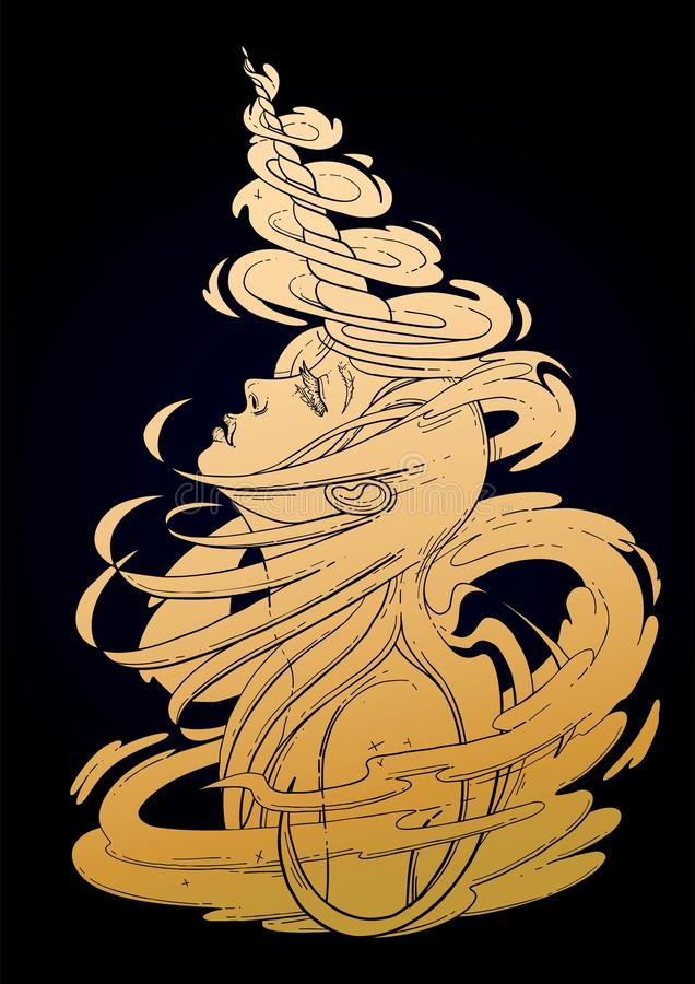 Gaphic unicorn girl stock illustration