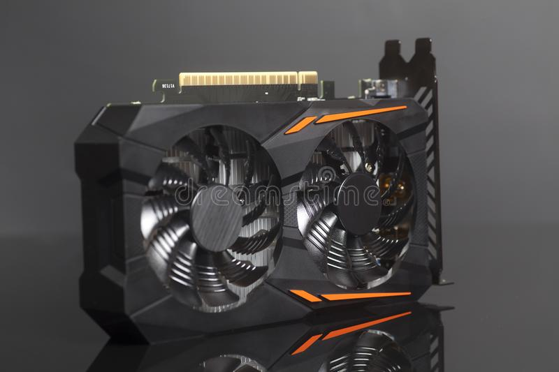 Graphic videocard for crypto currency mining end computer game stock photos