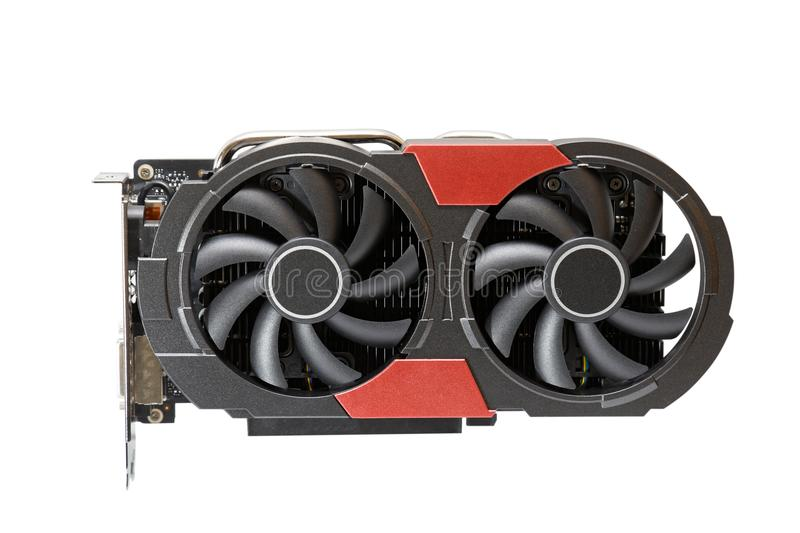 Graphic videocard with two fans for gaming or mining cryptocurrency royalty free stock image