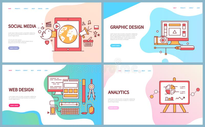 Graphic and Web Design, Analytics and Social Media. Vector. Computer screen with tools, monitor with supplies for optimisation of website data on charts vector illustration