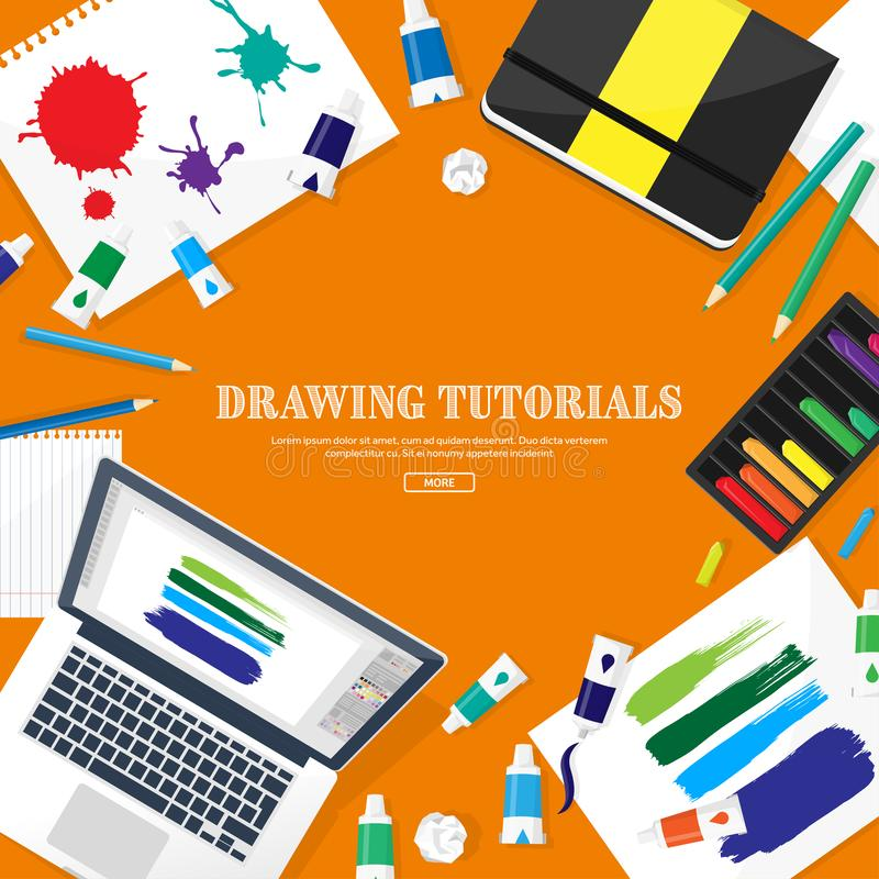 Graphic web design. Drawing and painting. Development. Illustration, sketching, freelance. User interface. UI. Computer. Graphic web design. Drawing and painting royalty free illustration