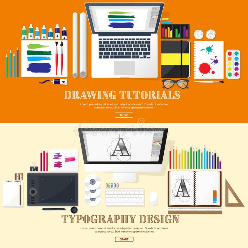 Graphic web design. Drawing and painting. Development. Illustration, sketching, freelance. User interface. UI. Computer. Graphic web design. Drawing and painting vector illustration
