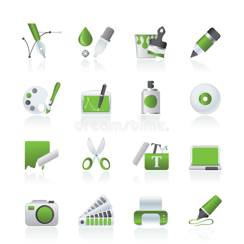 Graphic and web desing icons stock photos
