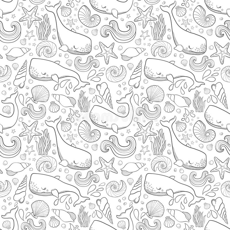Graphic whales flying in the sky. Sea and ocean creatures. Vector fantasy seamless pattern. Coloring book page design for adults a vector illustration