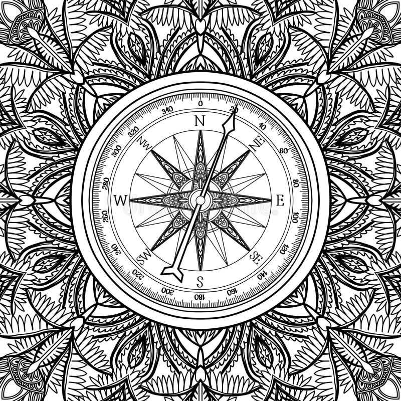 Line Art Illustration Style : Graphic wind rose compass stock vector image