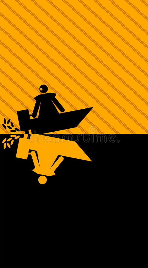 Graphic woman with motorboat