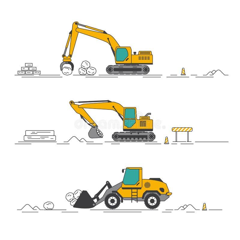 Yellow excavators in construction. Graphic of yellow excavator in construction industry vector illustration