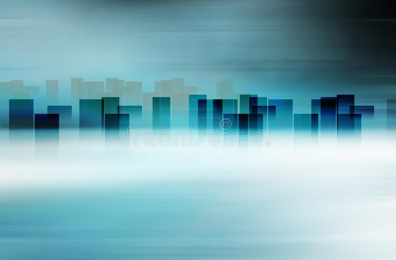 Graphical abstract city skyline with high buildings at horizon concept series stock illustration