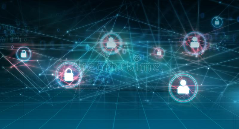 Graphical abstract internet and networks background concept series. Graphical abstract internet and networks background, connection lines with binary code and stock illustration