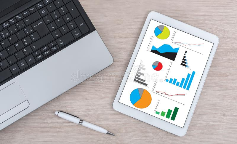 Graphical analysis concept on a digital tablet stock photos