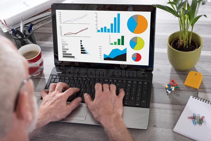 Graphical analysis concept on a laptop screen stock images