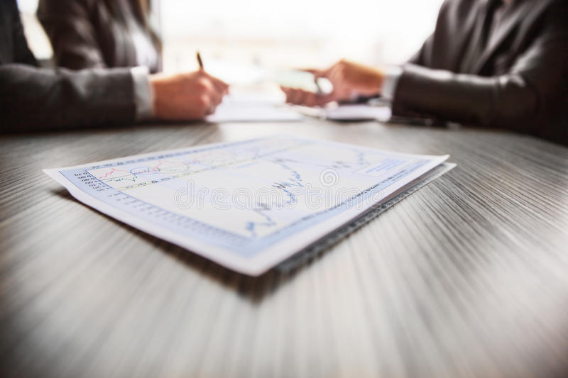Graphical analysis graph which lies on the table royalty free stock images