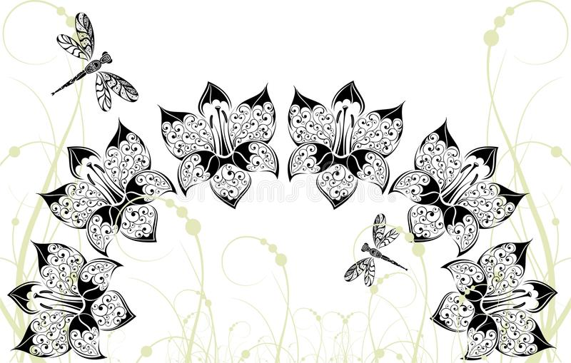 Download Graphical Background With Flowers And Dragonfly Stock Vector - Image: 14857989