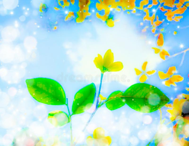 Graphical green leaves with yellow flower at tip and yellow patches at the border and bokeh of lights and stars stock photo