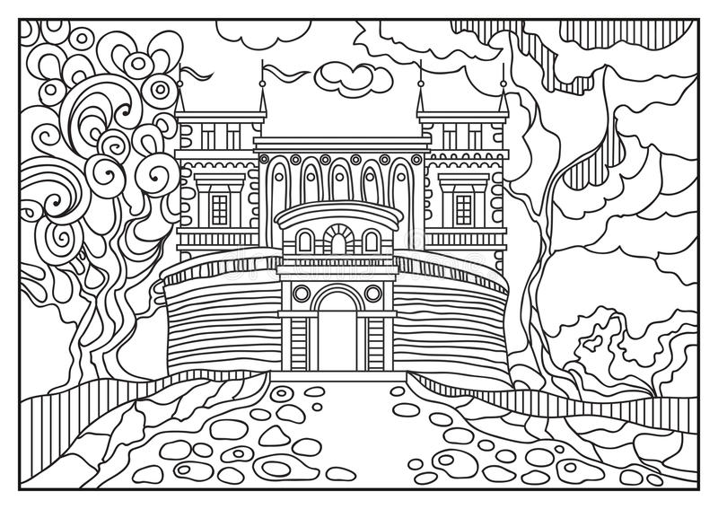 Graphical illustration of a castle on the background of nature 10 vector illustration