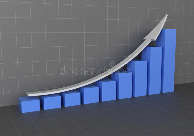 Graphical representation of profit increase royalty free stock photos