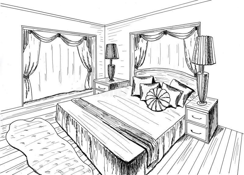 Graphical sketch stock illustration illustration of draft for Interieur tekenen