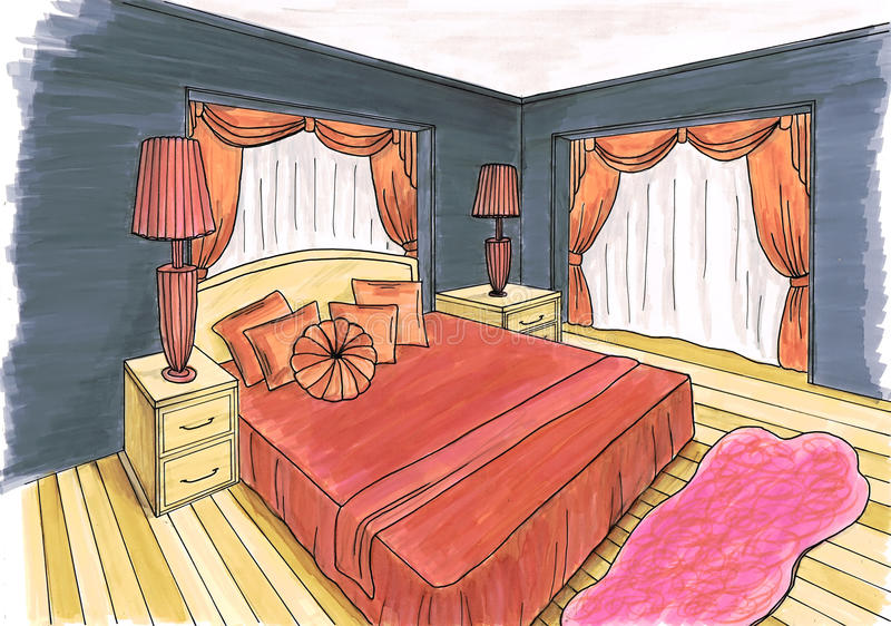 Graphical sketch of an interior bedroom stock illustration for Siti di interior design