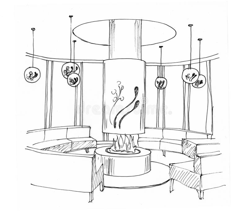 Download Graphical Sketch Of An Interior Living Room Stock Illustration - Image: 29975916