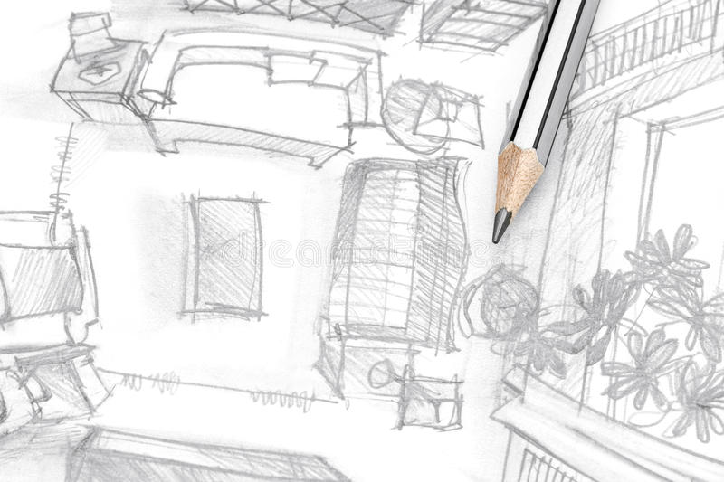 Graphical sketch of living room furniture with pencil top for Interieur tekenen