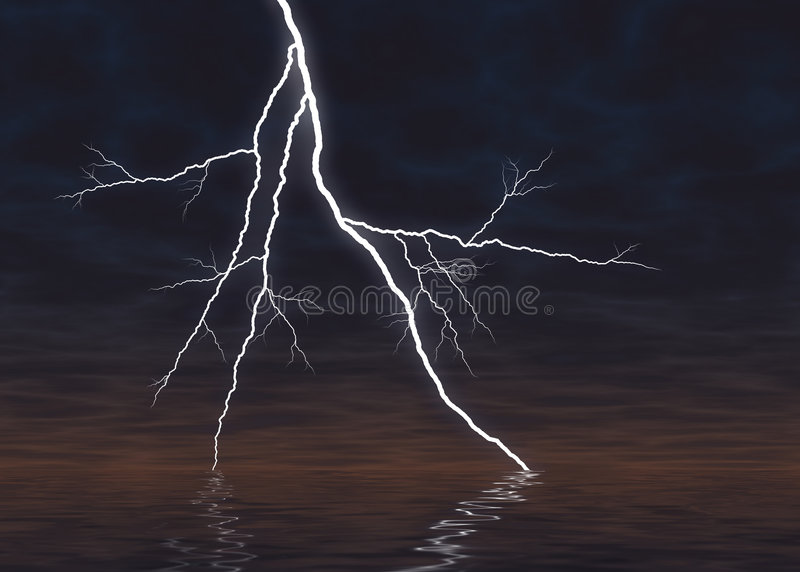 Graphically Rendered Lightning Above Water Royalty Free Stock Photography