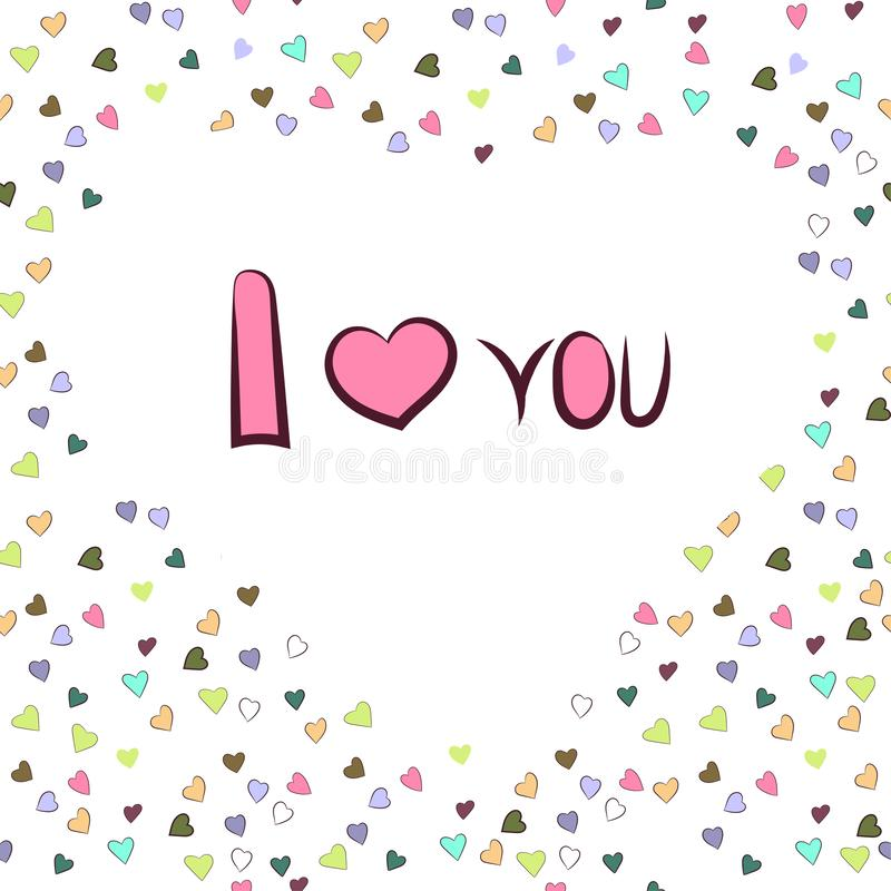 graphics Καρδιά-διαμορφωμένο άσπρο πλαίσιο με την επιγραφή Ι αγάπη διανυσματική απεικόνιση