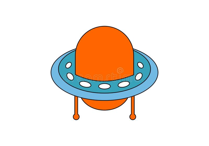 Ufo icon on space logo stock illustration