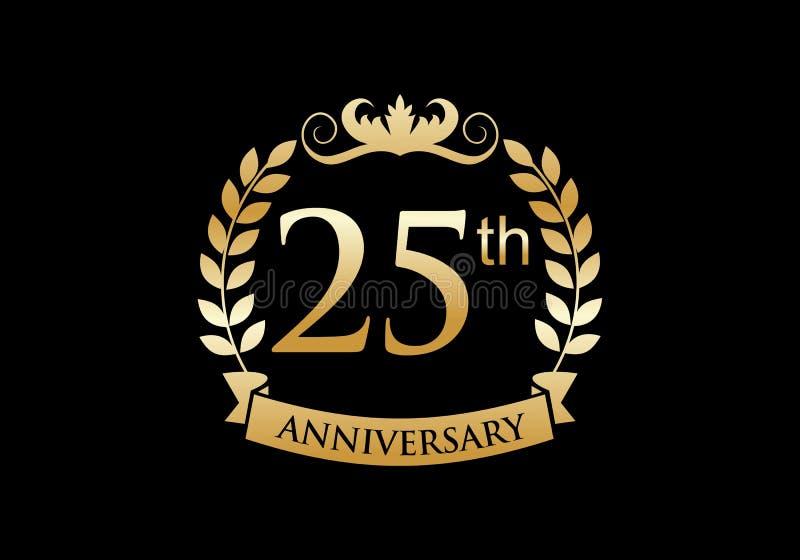 25th, anniversary celebration luxury logo royalty free illustration