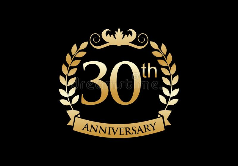 30th, anniversary celebration luxury logo stock illustration