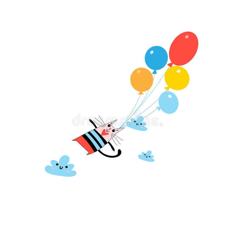 Graphics funny amorous cat. Graphics beautiful funny amorous cat on balloons royalty free illustration