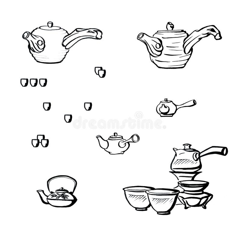 Graphics in ink - Japanese tea ceremony and traditional teapot for tea. In different angles with cups stock illustration
