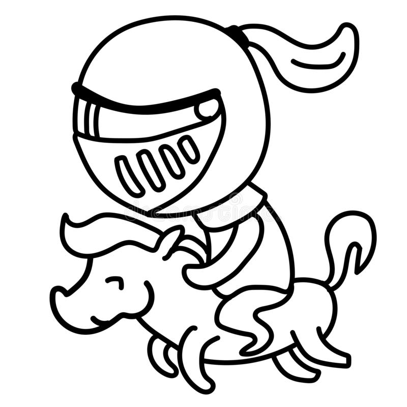 Graphics knight in a helmet, riding on a pony isolated on a white background. Line-art. vector illustration