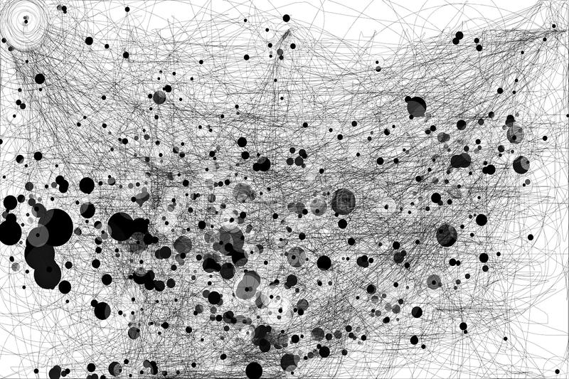 Galactic connections. Lines with black points circles royalty free stock images
