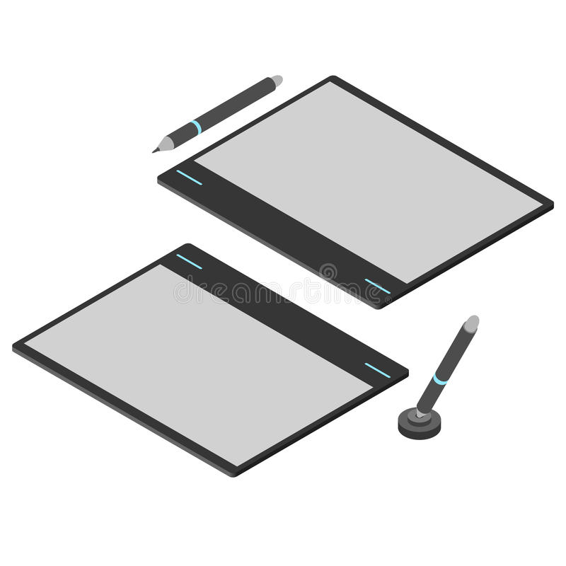 Graphics tablet. Flat isometric. Drawing tool for a computer. vector illustration