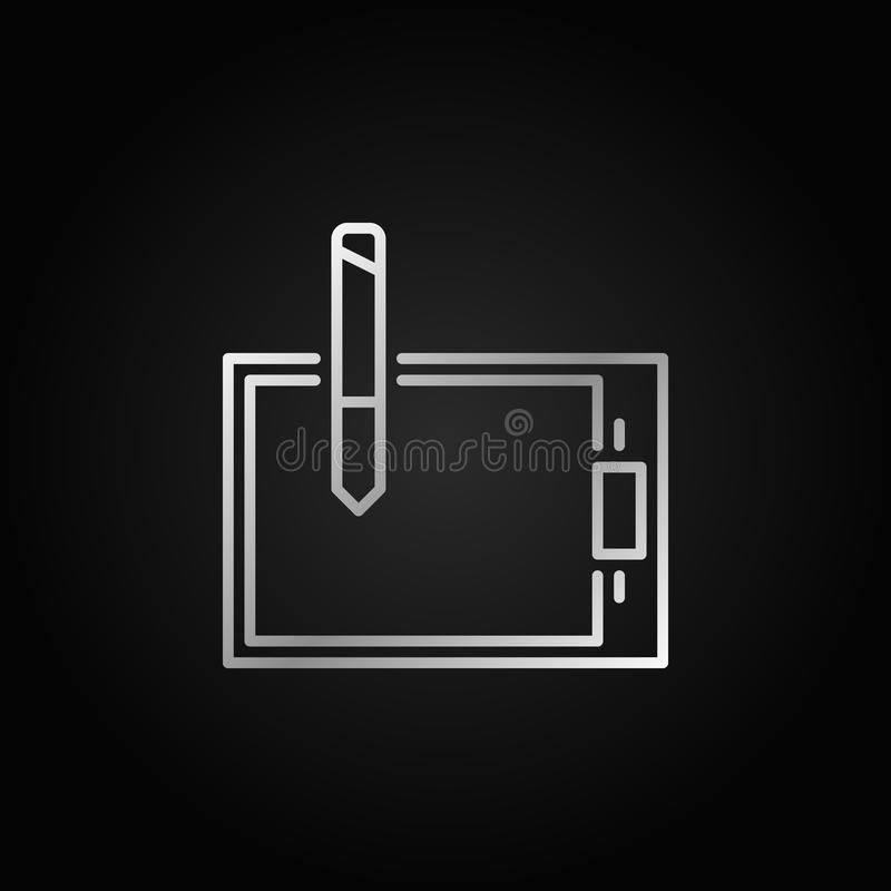 Graphics tablet silver icon - vector outline logo element vector illustration